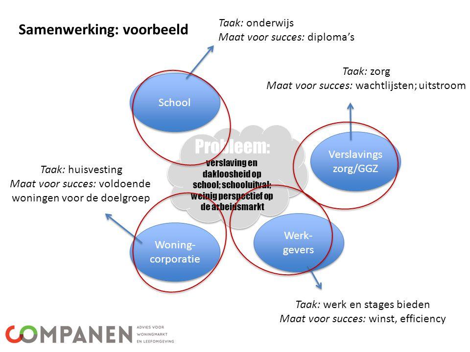 Samenwerking: voorbeeld Probleem: verslaving en dakloosheid op school; schooluitval; weinig perspectief op de arbeidsmarkt Probleem: verslaving en dak