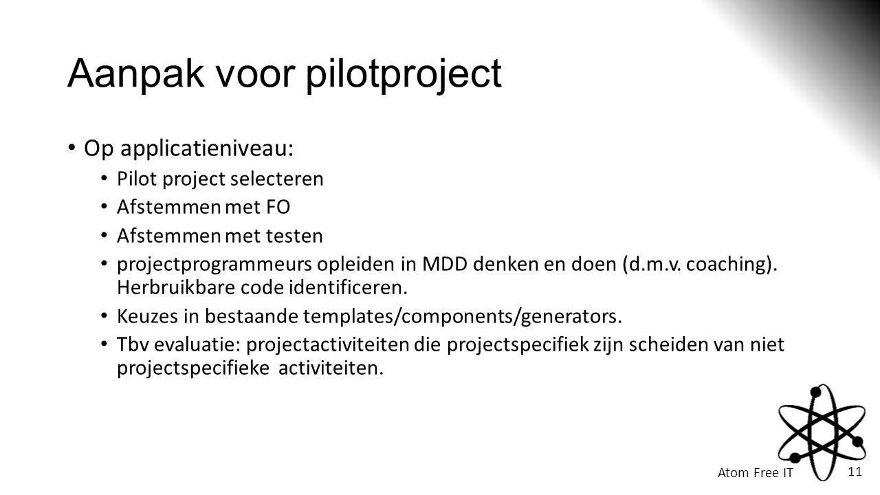 Atom Free IT 11 Aanpak voor pilotproject • Op applicatieniveau: • Pilot project selecteren • Afstemmen met FO • Afstemmen met testen • projectprogrammeurs opleiden in MDD denken en doen (d.m.v.