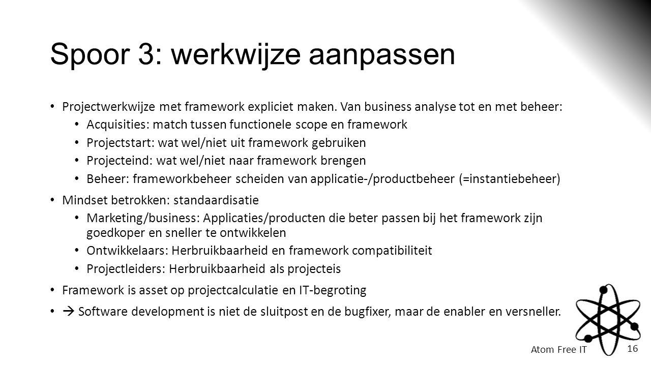 Atom Free IT 16 Spoor 3: werkwijze aanpassen • Projectwerkwijze met framework expliciet maken.