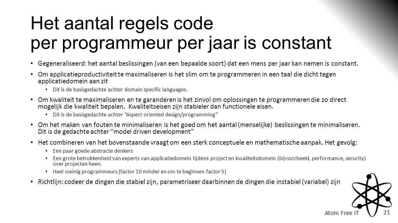 Atom Free IT 21 Het aantal regels code per programmeur per jaar is constant • Gegeneraliseerd: het aantal beslissingen (van een bepaalde soort) dat een mens per jaar kan nemen is constant.