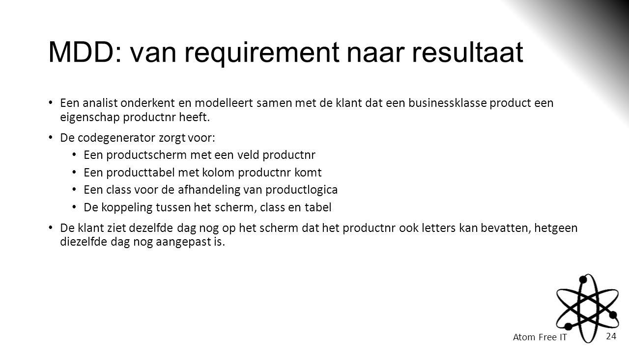 Atom Free IT 24 MDD: van requirement naar resultaat • Een analist onderkent en modelleert samen met de klant dat een businessklasse product een eigenschap productnr heeft.
