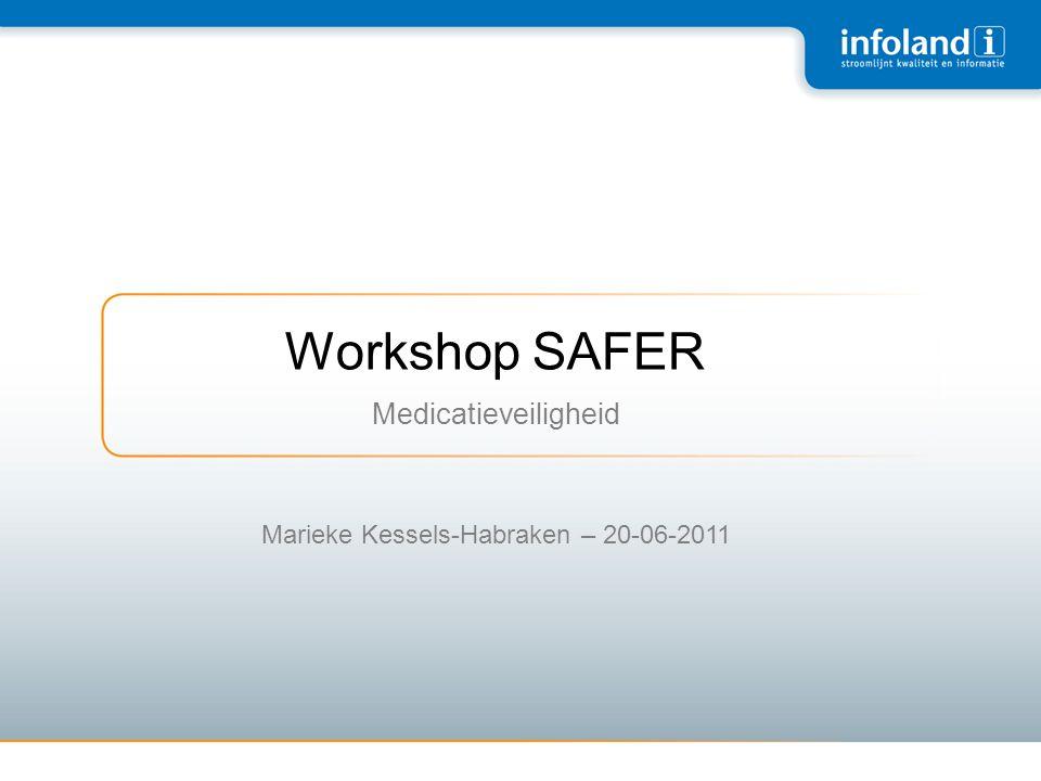 Prospectieve risicoanalyse •Een systematische benadering om problemen in een product of proces te identificeren en te voorkomen •Verschillende methoden: •FMEA •HFMEA •SAFER (Nederlandse variant van HFMEA)