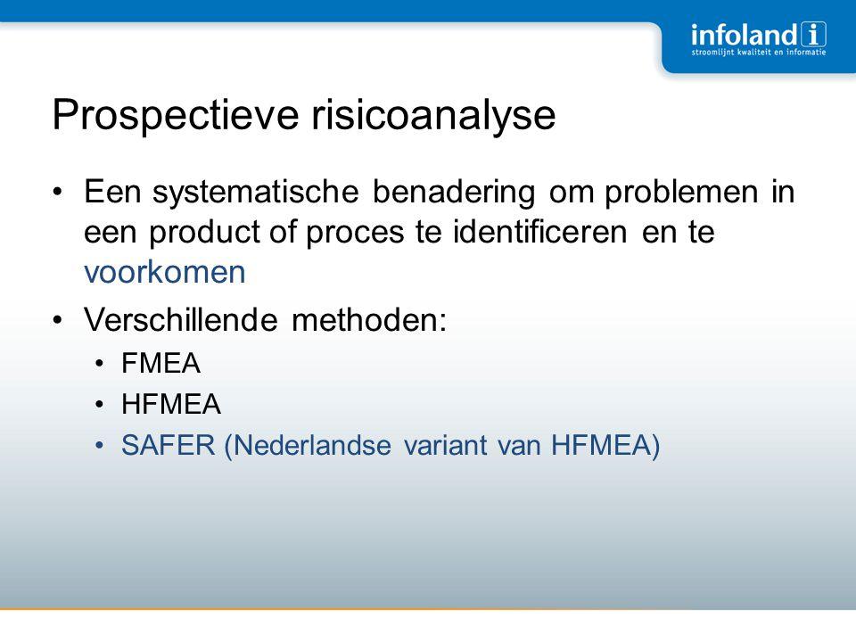 Prospectieve risicoanalyse •Een systematische benadering om problemen in een product of proces te identificeren en te voorkomen •Verschillende methode