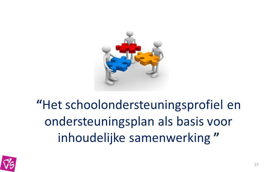 15 Het schoolondersteuningsprofiel en ondersteuningsplan als basis voor inhoudelijke samenwerking