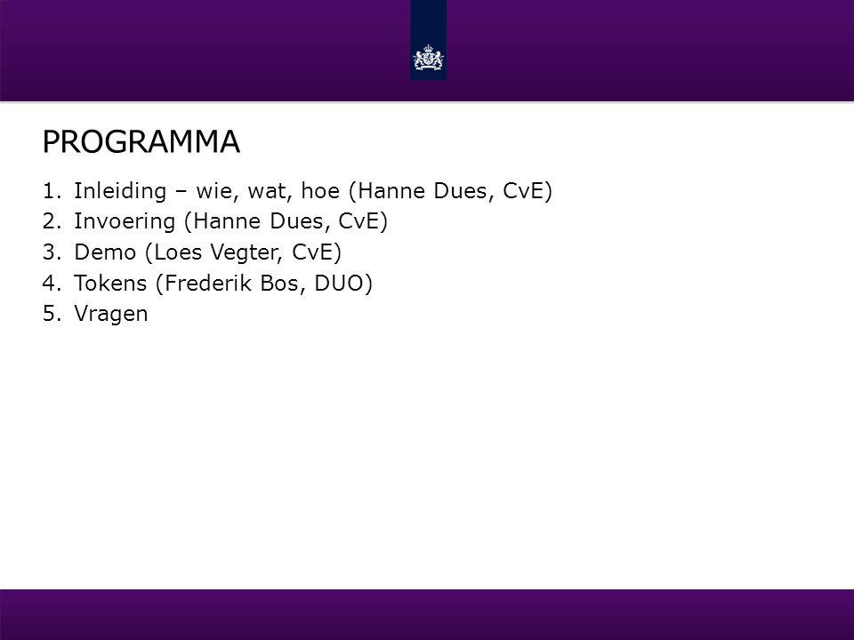 PROGRAMMA 1.Inleiding – wie, wat, hoe (Hanne Dues, CvE) 2.Invoering (Hanne Dues, CvE) 3.Demo (Loes Vegter, CvE) 4.Tokens (Frederik Bos, DUO) 5.Vragen