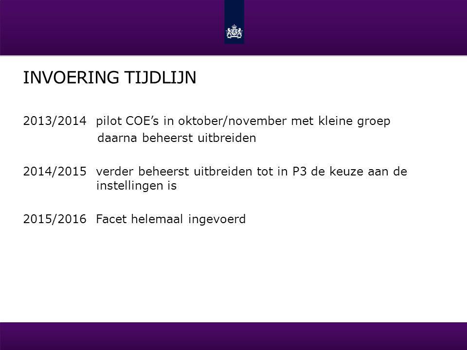 INVOERING TIJDLIJN 2013/2014 pilot COE's in oktober/november met kleine groep daarna beheerst uitbreiden 2014/2015 verder beheerst uitbreiden tot in P
