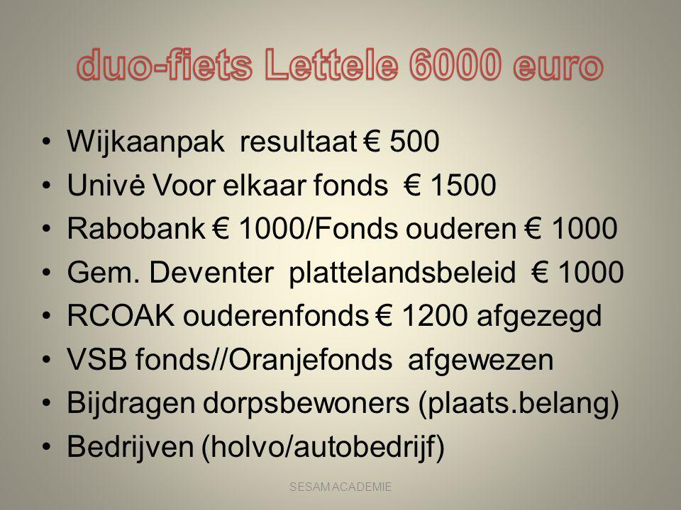 •Wijkaanpak resultaat € 500 •Univė Voor elkaar fonds € 1500 •Rabobank € 1000/Fonds ouderen € 1000 •Gem. Deventer plattelandsbeleid € 1000 •RCOAK ouder