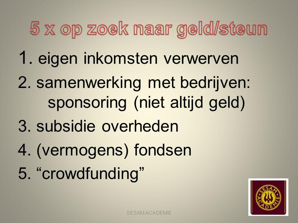 """1. eigen inkomsten verwerven 2. samenwerking met bedrijven: sponsoring (niet altijd geld) 3. subsidie overheden 4. (vermogens) fondsen 5. """"crowdfundin"""