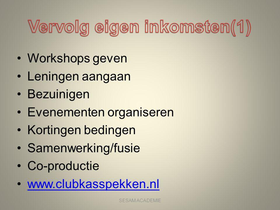 •Workshops geven •Leningen aangaan •Bezuinigen •Evenementen organiseren •Kortingen bedingen •Samenwerking/fusie •Co-productie •www.clubkasspekken.nlww