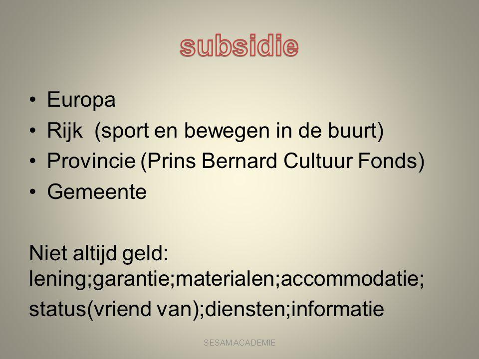 •Europa •Rijk (sport en bewegen in de buurt) •Provincie (Prins Bernard Cultuur Fonds) •Gemeente Niet altijd geld: lening;garantie;materialen;accommoda