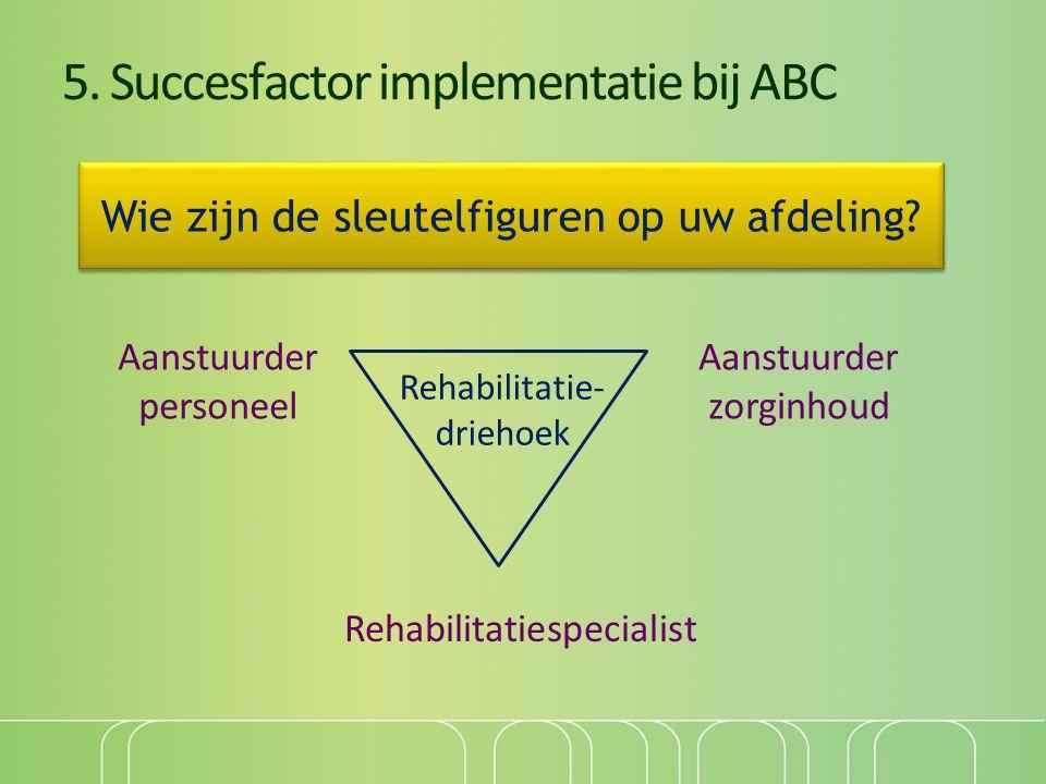 5. Succesfactor implementatie bij ABC Aanstuurder personeel Aanstuurder zorginhoud Rehabilitatiespecialist Rehabilitatie- driehoek Wie zijn de sleutel