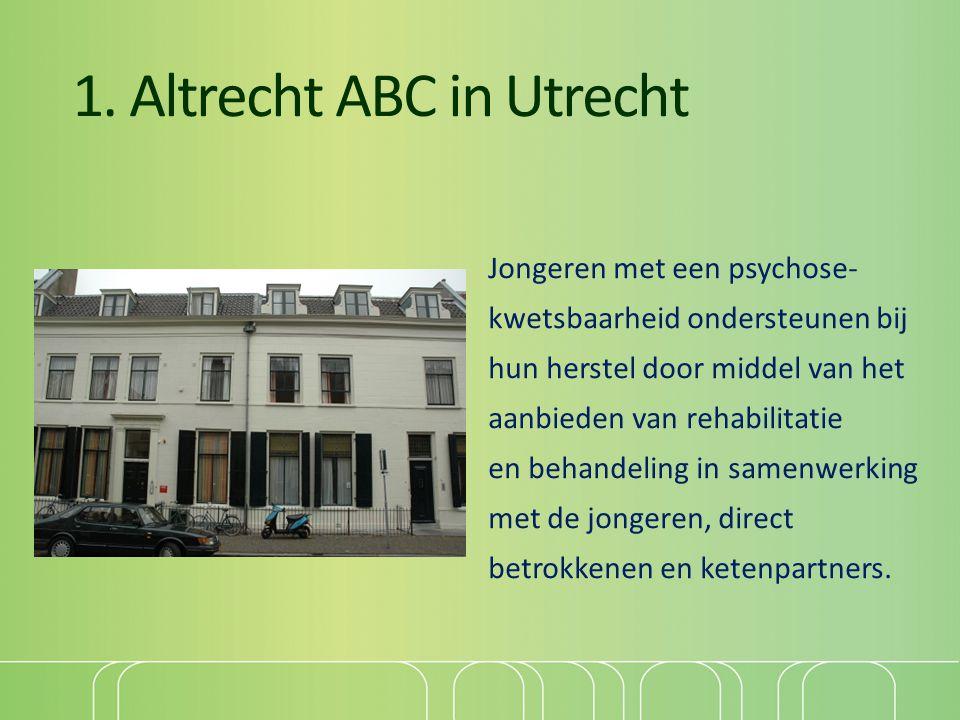 1. Altrecht ABC in Utrecht Jongeren met een psychose- kwetsbaarheid ondersteunen bij hun herstel door middel van het aanbieden van rehabilitatie en be