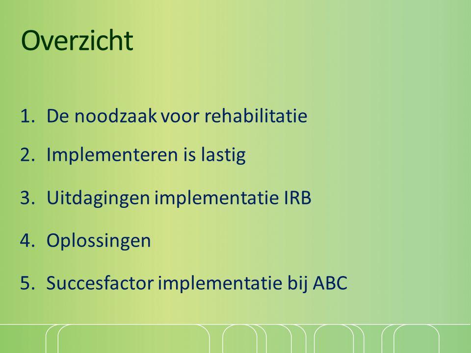 Overzicht 1.De noodzaak voor rehabilitatie 2.Implementeren is lastig 3.Uitdagingen implementatie IRB 4.Oplossingen 5.Succesfactor implementatie bij AB