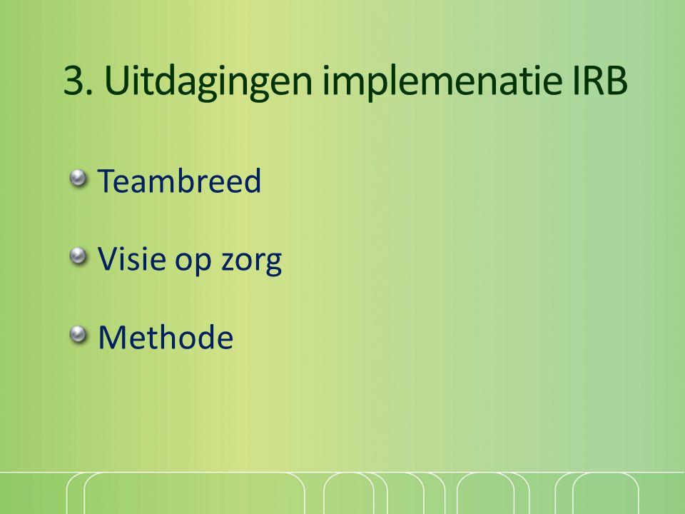 3. Uitdagingen implemenatie IRB Teambreed Visie op zorg Methode