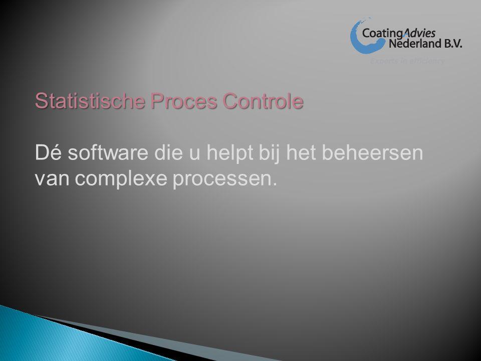 Statistische Proces Controle Dé software die u helpt bij het beheersen van complexe processen.