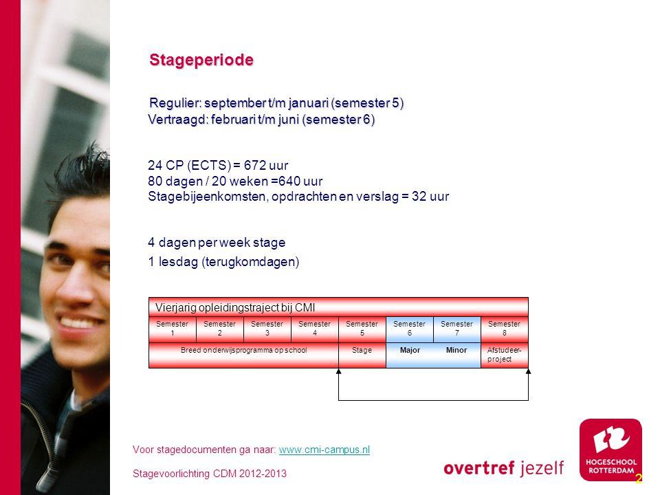 2 Stageperiode Stageperiode Regulier: september t/m januari (semester 5) Regulier: september t/m januari (semester 5) Vertraagd: februari t/m juni (se