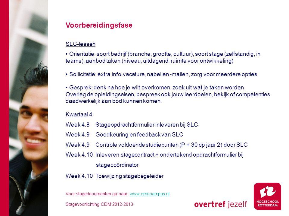 6 Startprocedure stage • Toegang op basis van voldoende cp's • Akkoord bedrijf en stageopdracht Goedkeuringen worden verwerkt op je controleformulier in www.cmi-campus.nlwww.cmi-campus.nl • Stagecontract en opdrachtformulier (beiden ondertekend) inleveren bij stagecoördinator • Stage aanmelden op www.cmi-campus.nlwww.cmi-campus.nl • Contact met stagebegeleider voor uitwisseling gegevens • Uitwerking Stageplan: inleveren na 3 weken bij begeleider  stageplan: taken, werkzaamheden en projecten uitgeschreven naar leerdoelen en beroepscompetenties Voor stagedocumenten ga naar: www.cmi-campus.nlwww.cmi-campus.nl Stagevoorlichting CDM 2012-2013