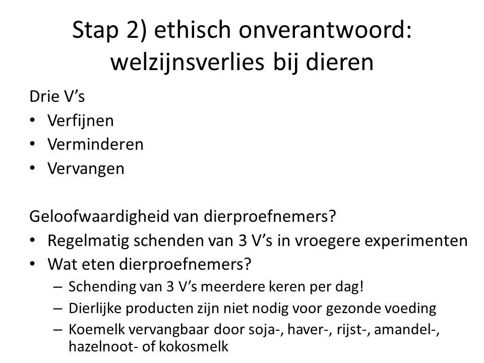 Stap 2) ethisch onverantwoord: welzijnsverlies bij dieren Drie V's • Verfijnen • Verminderen • Vervangen Geloofwaardigheid van dierproefnemers? • Rege