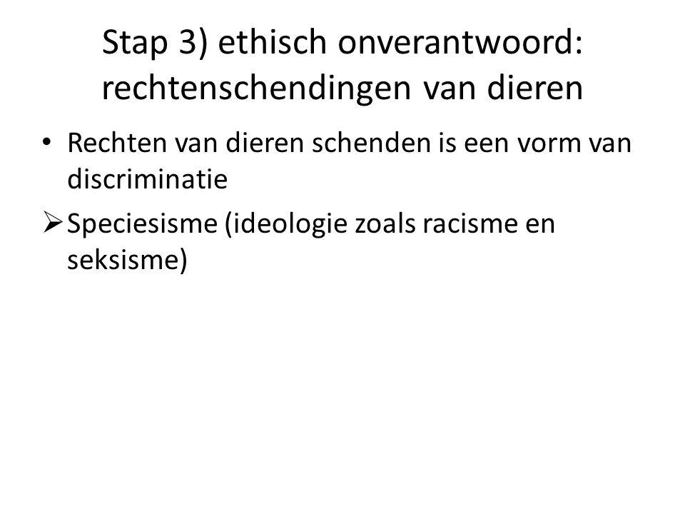 Stap 3) ethisch onverantwoord: rechtenschendingen van dieren • Rechten van dieren schenden is een vorm van discriminatie  Speciesisme (ideologie zoal