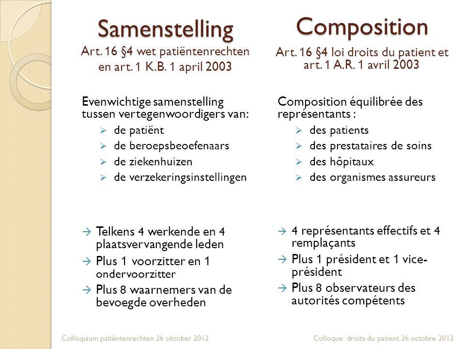 Samenstelling Samenstelling Art. 1 6 §4 wet patiëntenrechten en art. 1 K.B. 1 april 2003 Evenwichtige samenstelling tussen vertegenwoordigers van:  d