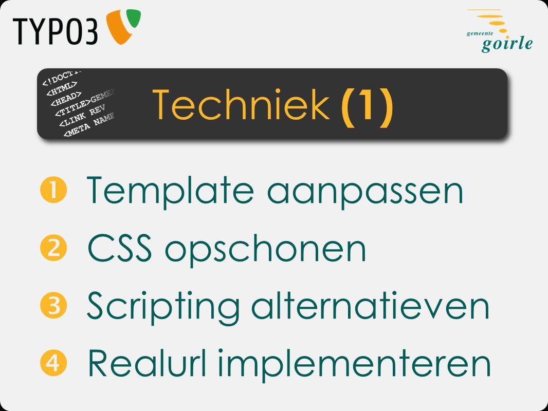  Template aanpassen  CSS opschonen  Scripting alternatieven  Realurl implementeren Techniek (1)