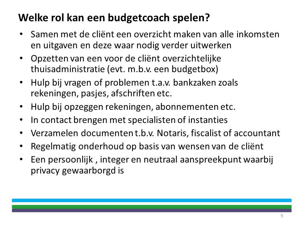 Welke rol kan een budgetcoach spelen? • Samen met de cliënt een overzicht maken van alle inkomsten en uitgaven en deze waar nodig verder uitwerken • O