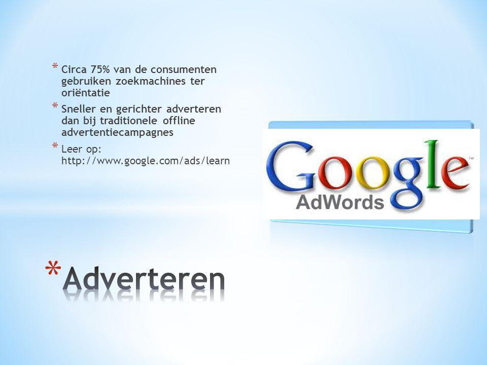 * Circa 75% van de consumenten gebruiken zoekmachines ter oriëntatie * Sneller en gerichter adverteren dan bij traditionele offline advertentiecampagnes * Leer op: http://www.google.com/ads/learn