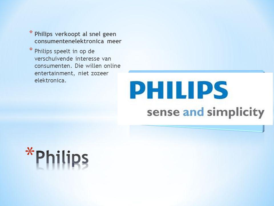 * Philips verkoopt al snel geen consumentenelektronica meer * Philips speelt in op de verschuivende interesse van consumenten.