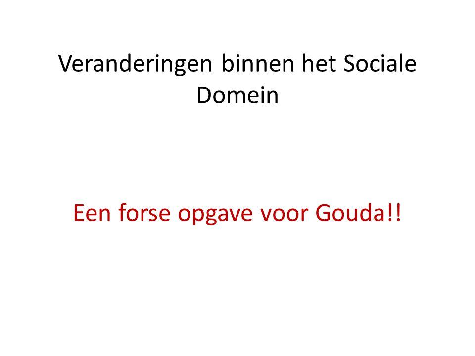 Veranderingen binnen het Sociale Domein Een forse opgave voor Gouda!!