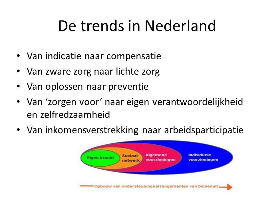De trends in Nederland • Van indicatie naar compensatie • Van zware zorg naar lichte zorg • Van oplossen naar preventie • Van 'zorgen voor' naar eigen
