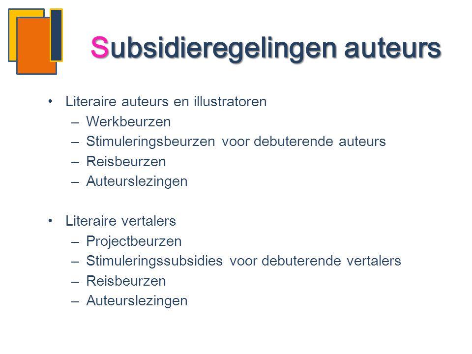 •Literaire auteurs en illustratoren –Werkbeurzen –Stimuleringsbeurzen voor debuterende auteurs –Reisbeurzen –Auteurslezingen •Literaire vertalers –Pro