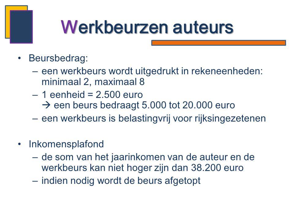 •Beursbedrag: –een werkbeurs wordt uitgedrukt in rekeneenheden: minimaal 2, maximaal 8 –1 eenheid = 2.500 euro  een beurs bedraagt 5.000 tot 20.000 e