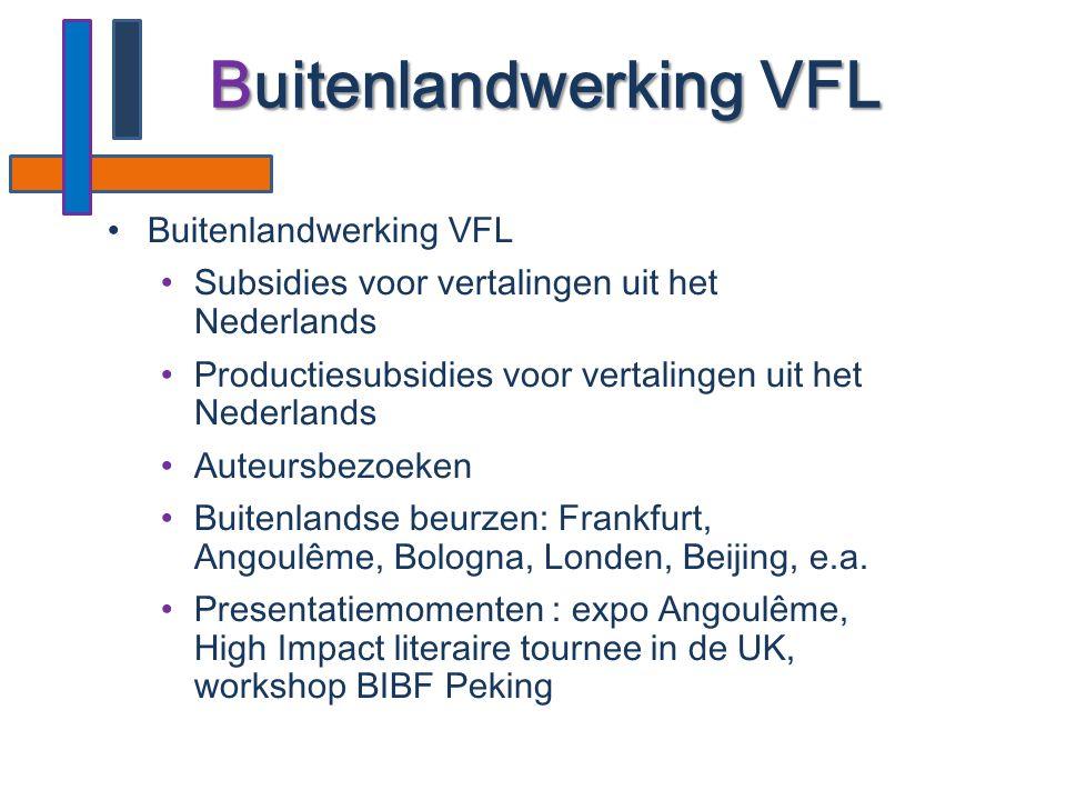 •Buitenlandwerking VFL •Subsidies voor vertalingen uit het Nederlands •Productiesubsidies voor vertalingen uit het Nederlands •Auteursbezoeken •Buiten