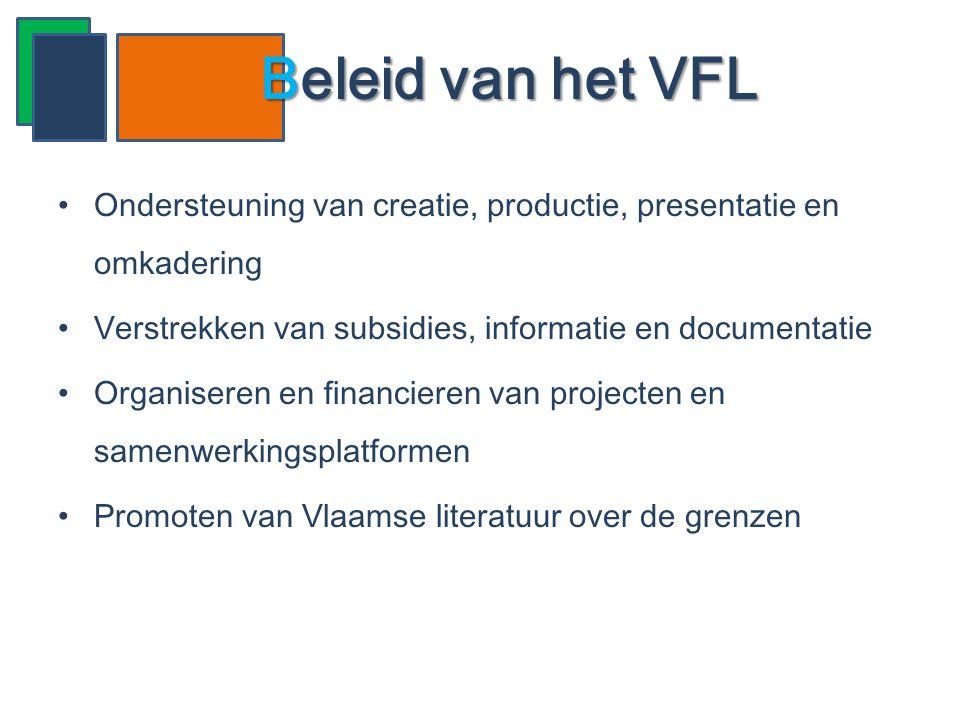 •Ondersteuning van creatie, productie, presentatie en omkadering •Verstrekken van subsidies, informatie en documentatie •Organiseren en financieren va