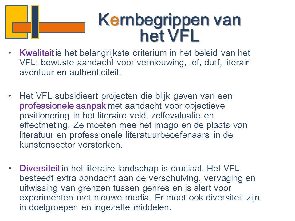 •Kwaliteit is het belangrijkste criterium in het beleid van het VFL: bewuste aandacht voor vernieuwing, lef, durf, literair avontuur en authenticiteit