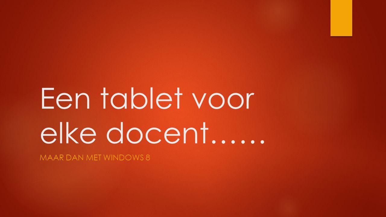 Een tablet voor elke docent…… MAAR DAN MET WINDOWS 8