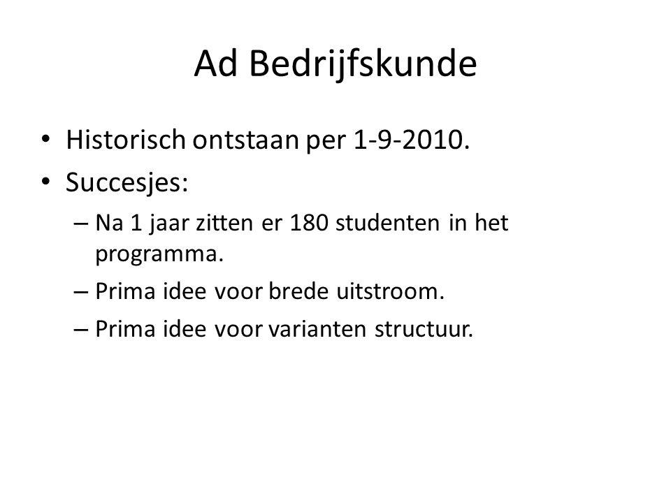 Ad Bedrijfskunde • Historisch ontstaan per 1-9-2010. • Succesjes: – Na 1 jaar zitten er 180 studenten in het programma. – Prima idee voor brede uitstr