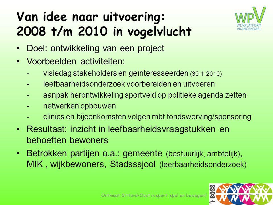 Van idee naar uitvoering: 2008 t/m 2010 in vogelvlucht •Doel: ontwikkeling van een project •Voorbeelden activiteiten: -visiedag stakeholders en geïnte