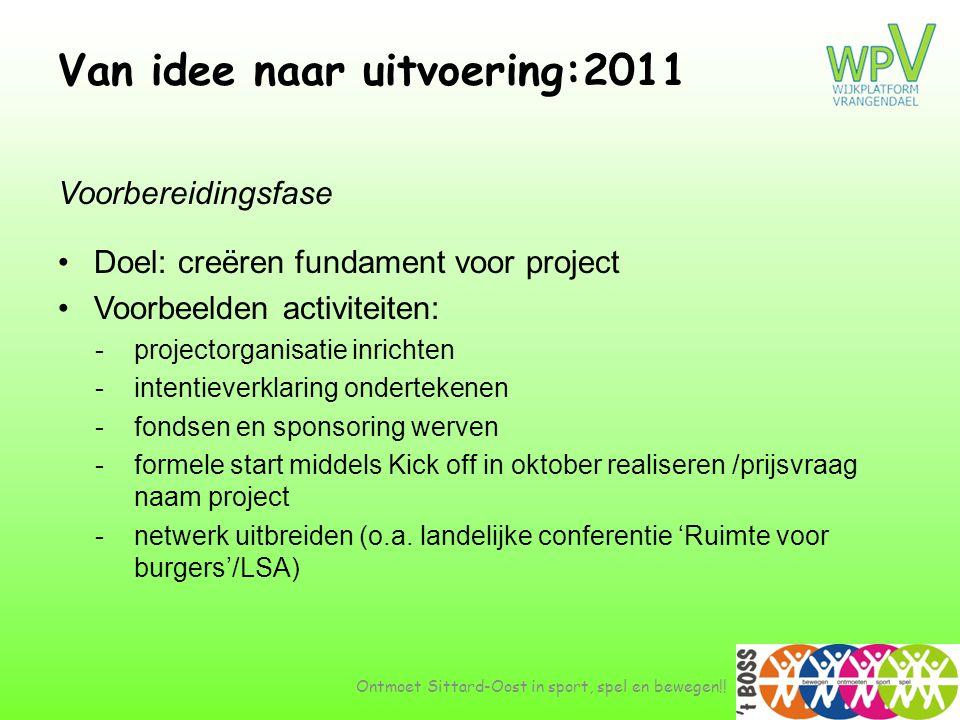 Van idee naar uitvoering:2011 Voorbereidingsfase •Doel: creëren fundament voor project •Voorbeelden activiteiten: -projectorganisatie inrichten -inten