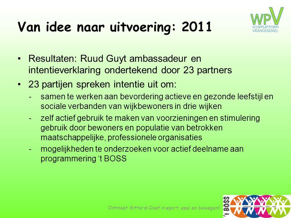 Van idee naar uitvoering: 2011 •Resultaten: Ruud Guyt ambassadeur en intentieverklaring ondertekend door 23 partners •23 partijen spreken intentie uit