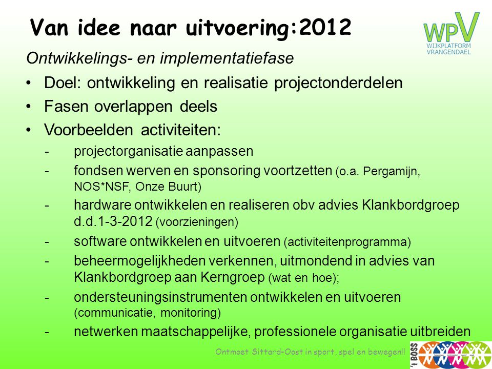 Van idee naar uitvoering:2012 Ontwikkelings- en implementatiefase •Doel: ontwikkeling en realisatie projectonderdelen •Fasen overlappen deels •Voorbee
