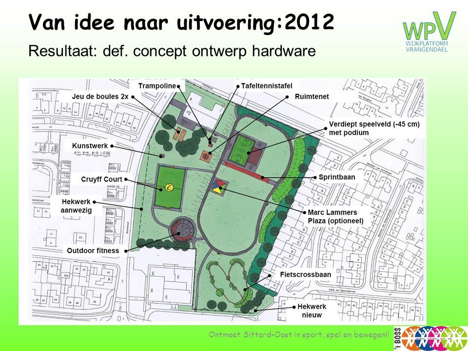Van idee naar uitvoering:2012 …. Resultaat: def. concept ontwerp hardware Ontmoet Sittard-Oost in sport, spel en bewegen!!