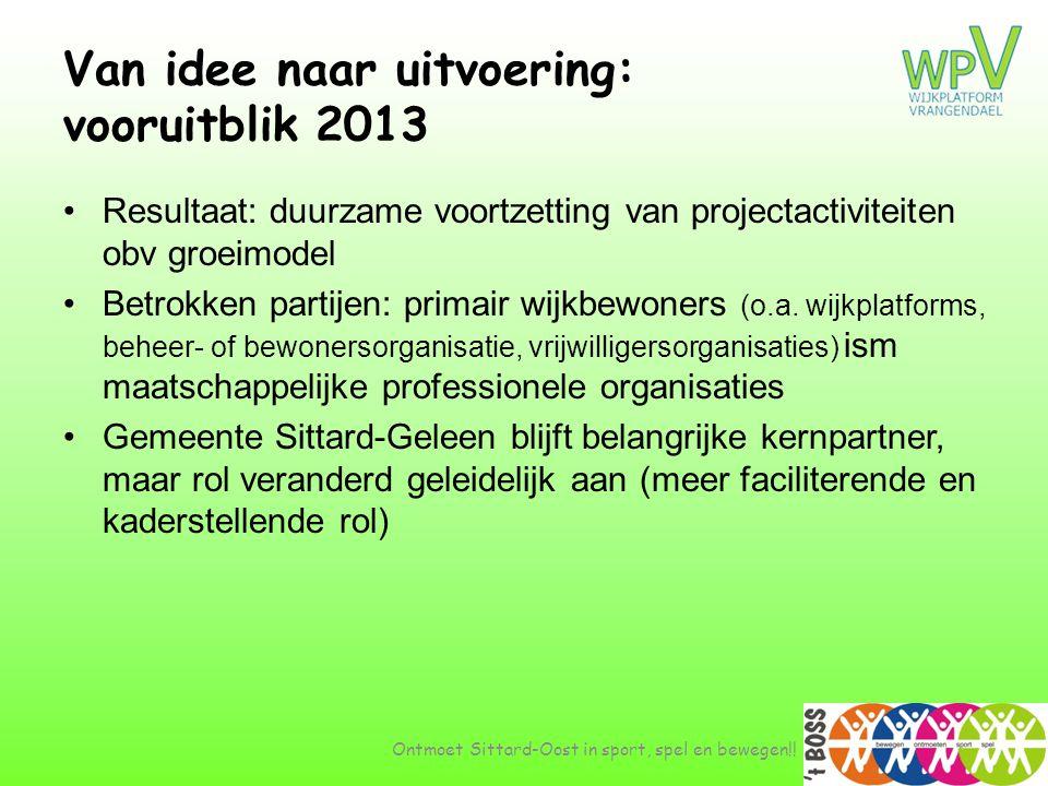 Van idee naar uitvoering: vooruitblik 2013 •Resultaat: duurzame voortzetting van projectactiviteiten obv groeimodel •Betrokken partijen: primair wijkb