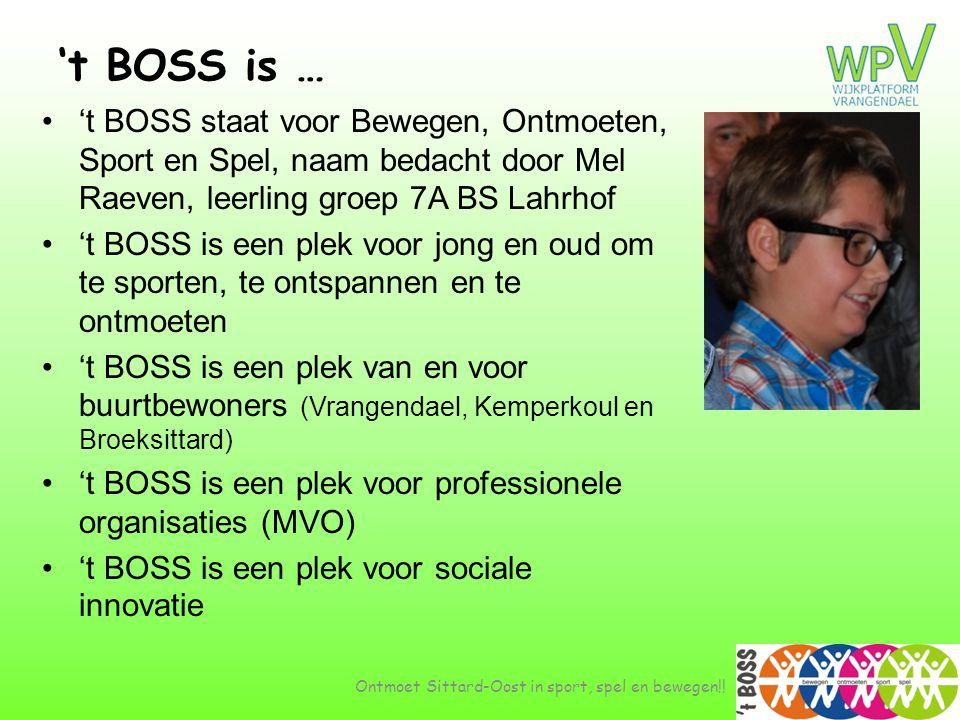 't BOSS is … •'t BOSS staat voor Bewegen, Ontmoeten, Sport en Spel, naam bedacht door Mel Raeven, leerling groep 7A BS Lahrhof •'t BOSS is een plek vo