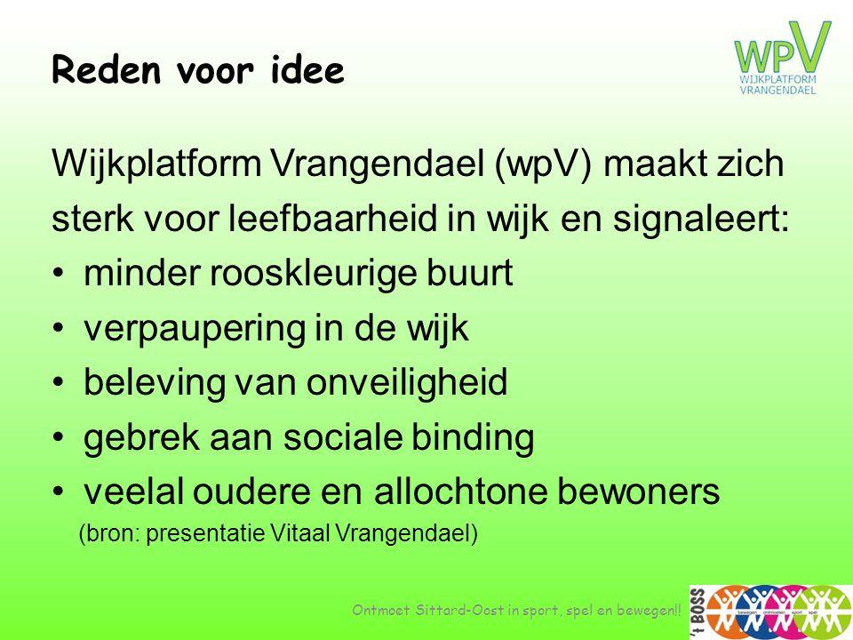 Reden voor idee Ontmoet Sittard-Oost in sport, spel en bewegen!! Wijkplatform Vrangendael (wpV) maakt zich sterk voor leefbaarheid in wijk en signalee