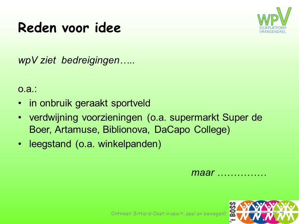 Reden voor idee wpV ziet bedreigingen….. o.a.: •in onbruik geraakt sportveld •verdwijning voorzieningen (o.a. supermarkt Super de Boer, Artamuse, Bibl