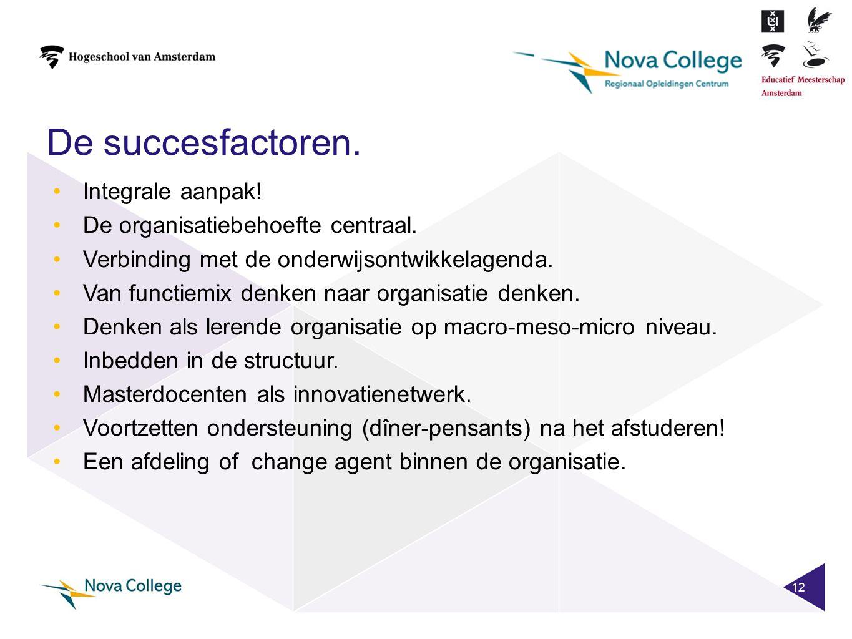 De succesfactoren. 12 •Integrale aanpak! •De organisatiebehoefte centraal. •Verbinding met de onderwijsontwikkelagenda. •Van functiemix denken naar or