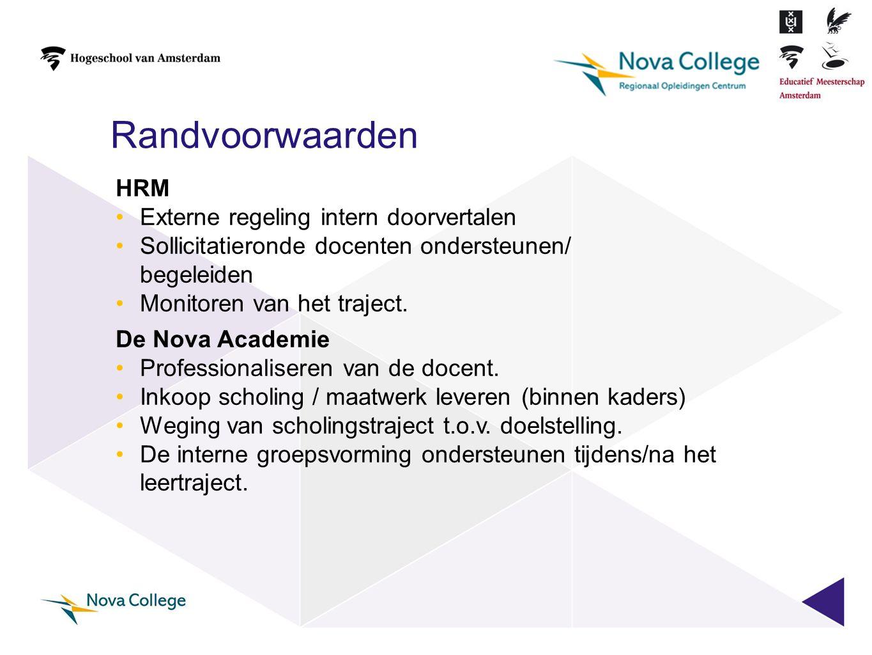 HRM •Externe regeling intern doorvertalen •Sollicitatieronde docenten ondersteunen/ begeleiden •Monitoren van het traject. De Nova Academie •Professio