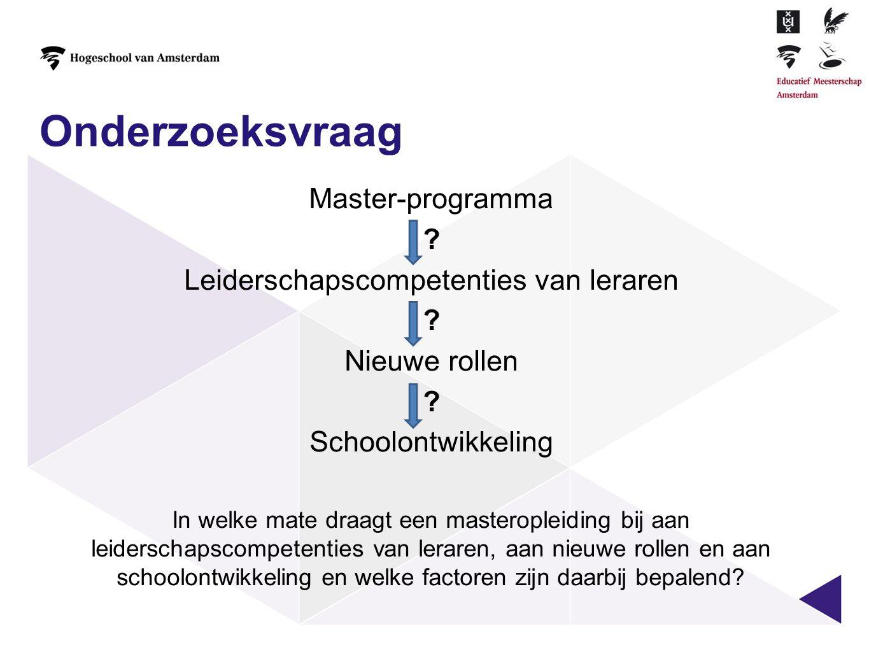 Onderzoeksvraag Master-programma ? Leiderschapscompetenties van leraren ? Nieuwe rollen ? Schoolontwikkeling In welke mate draagt een masteropleiding