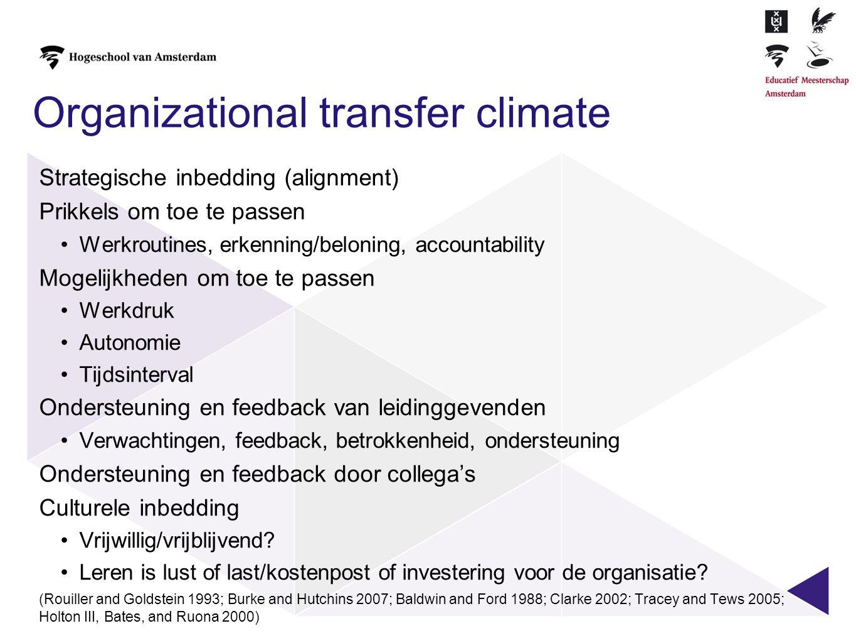 Organizational transfer climate Strategische inbedding (alignment) Prikkels om toe te passen •Werkroutines, erkenning/beloning, accountability Mogelij